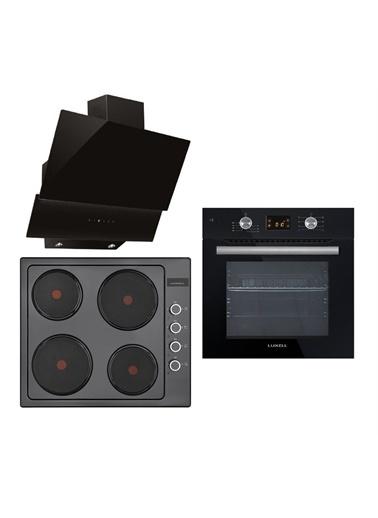 Luxell Luxell Ddt Dijital Siyah  8 Prog. Dokunmatik Hotpleyt Elektrikli Ocaklı Ankastre Set Siyah